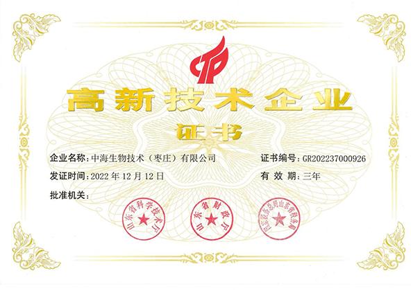 高新技术企业证书图片